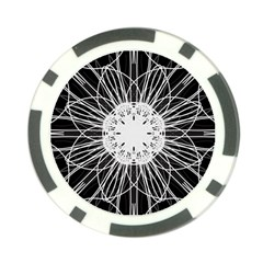 Black And White Flower Mandala Art Kaleidoscope Poker Chip Card Guards (10 Pack)  by yoursparklingshop