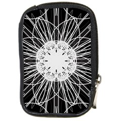 Black And White Flower Mandala Art Kaleidoscope Compact Camera Cases by yoursparklingshop