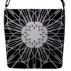 Black And White Flower Mandala Art Kaleidoscope Flap Messenger Bag (s) by yoursparklingshop