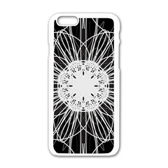 Black And White Flower Mandala Art Kaleidoscope Apple Iphone 6/6s White Enamel Case by yoursparklingshop
