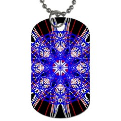 Kaleidoscope Flower Mandala Art Black White Red Blue Dog Tag (one Side) by yoursparklingshop
