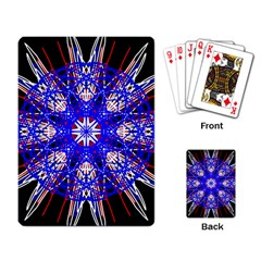 Kaleidoscope Flower Mandala Art Black White Red Blue Playing Card by yoursparklingshop