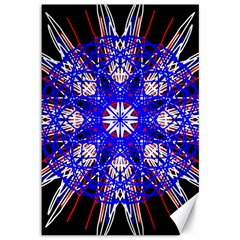 Kaleidoscope Flower Mandala Art Black White Red Blue Canvas 12  X 18   by yoursparklingshop