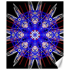 Kaleidoscope Flower Mandala Art Black White Red Blue Canvas 20  X 24   by yoursparklingshop