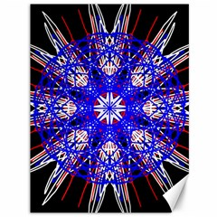 Kaleidoscope Flower Mandala Art Black White Red Blue Canvas 36  X 48   by yoursparklingshop