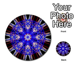 Kaleidoscope Flower Mandala Art Black White Red Blue Multi Purpose Cards (round)  by yoursparklingshop