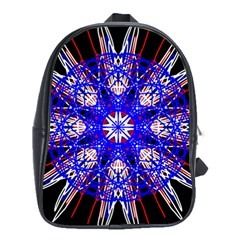 Kaleidoscope Flower Mandala Art Black White Red Blue School Bags(large)  by yoursparklingshop