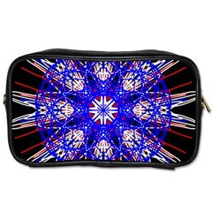 Kaleidoscope Flower Mandala Art Black White Red Blue Toiletries Bags 2 Side by yoursparklingshop
