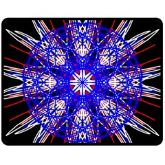 Kaleidoscope Flower Mandala Art Black White Red Blue Fleece Blanket (medium)  by yoursparklingshop