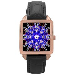 Kaleidoscope Flower Mandala Art Black White Red Blue Rose Gold Leather Watch  by yoursparklingshop