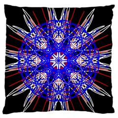 Kaleidoscope Flower Mandala Art Black White Red Blue Standard Flano Cushion Case (one Side) by yoursparklingshop