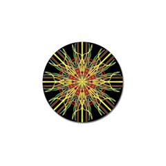Kaleidoscope Flower Mandala Art Black Yellow Orange Red Golf Ball Marker (4 Pack) by yoursparklingshop