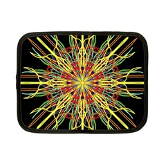 Kaleidoscope Flower Mandala Art Black Yellow Orange Red Netbook Case (small)  by yoursparklingshop