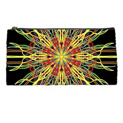 Kaleidoscope Flower Mandala Art Black Yellow Orange Red Pencil Cases