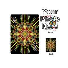 Kaleidoscope Flower Mandala Art Black Yellow Orange Red Playing Cards 54 (mini)  by yoursparklingshop