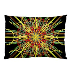 Kaleidoscope Flower Mandala Art Black Yellow Orange Red Pillow Case (two Sides) by yoursparklingshop