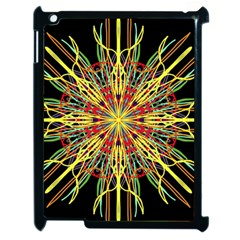 Kaleidoscope Flower Mandala Art Black Yellow Orange Red Apple Ipad 2 Case (black) by yoursparklingshop