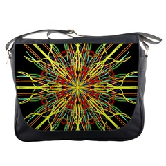 Kaleidoscope Flower Mandala Art Black Yellow Orange Red Messenger Bags by yoursparklingshop