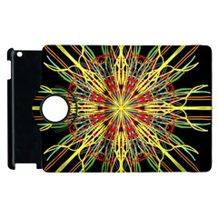 Kaleidoscope Flower Mandala Art Black Yellow Orange Red Apple Ipad 2 Flip 360 Case by yoursparklingshop
