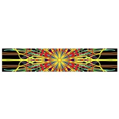 Kaleidoscope Flower Mandala Art Black Yellow Orange Red Flano Scarf (small) by yoursparklingshop