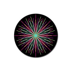 Pink Turquoise Black Star Kaleidoscope Flower Mandala Art Magnet 3  (round) by yoursparklingshop