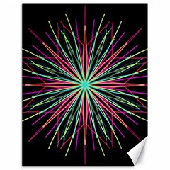 Pink Turquoise Black Star Kaleidoscope Flower Mandala Art Canvas 18  X 24   by yoursparklingshop