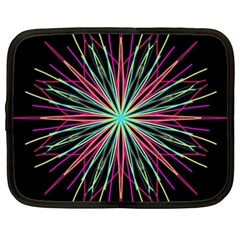 Pink Turquoise Black Star Kaleidoscope Flower Mandala Art Netbook Case (xxl)  by yoursparklingshop