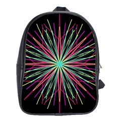 Pink Turquoise Black Star Kaleidoscope Flower Mandala Art School Bags(large)  by yoursparklingshop