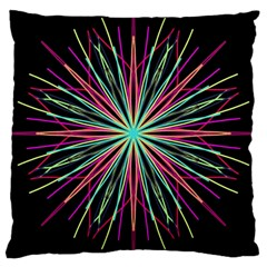 Pink Turquoise Black Star Kaleidoscope Flower Mandala Art Large Cushion Case (two Sides) by yoursparklingshop