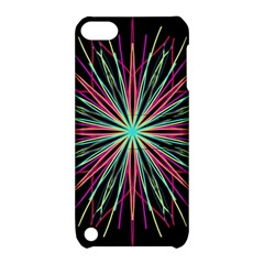 Pink Turquoise Black Star Kaleidoscope Flower Mandala Art Apple Ipod Touch 5 Hardshell Case With Stand by yoursparklingshop
