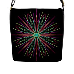 Pink Turquoise Black Star Kaleidoscope Flower Mandala Art Flap Messenger Bag (l)  by yoursparklingshop