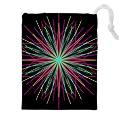 Pink Turquoise Black Star Kaleidoscope Flower Mandala Art Drawstring Pouches (xxl) by yoursparklingshop