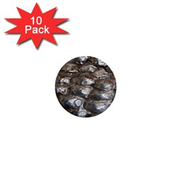 Festive Silver Metallic Abstract Art 1  Mini Buttons (10 Pack)