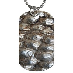 Festive Silver Metallic Abstract Art Dog Tag (one Side) by yoursparklingshop