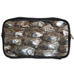 Festive Silver Metallic Abstract Art Toiletries Bags by yoursparklingshop