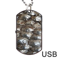 Festive Silver Metallic Abstract Art Dog Tag Usb Flash (two Sides)  by yoursparklingshop