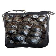 Festive Silver Metallic Abstract Art Messenger Bags by yoursparklingshop