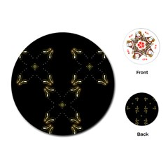 Festive Black Golden Lights  Playing Cards (round)  by yoursparklingshop