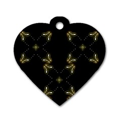 Festive Black Golden Lights  Dog Tag Heart (one Side) by yoursparklingshop