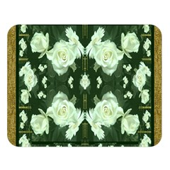 Roses And Flowers In Gold Double Sided Flano Blanket (large)