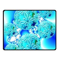 Blue Ice Crystals, Abstract Aqua Azure Cyan Double Sided Fleece Blanket (small)  by DianeClancy