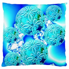 Blue Ice Crystals, Abstract Aqua Azure Cyan Large Flano Cushion Case (two Sides) by DianeClancy