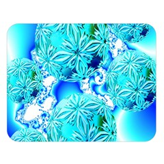 Blue Ice Crystals, Abstract Aqua Azure Cyan Double Sided Flano Blanket (large)  by DianeClancy