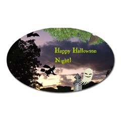 Happy Halloween Night Witch Flying Oval Magnet by canvasngiftshop