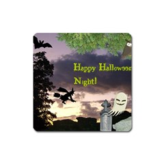 Happy Halloween Night Witch Flying Square Magnet by canvasngiftshop