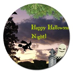 Happy Halloween Night Witch Flying Magnet 5  (round) by canvasngiftshop