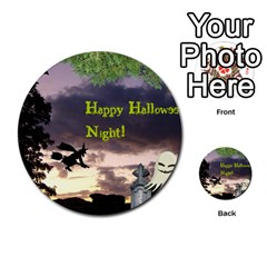 Happy Halloween Night Witch Flying Multi Purpose Cards (round)  by canvasngiftshop