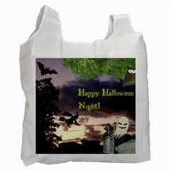 Happy Halloween Night Witch Flying Recycle Bag (two Side)  by canvasngiftshop