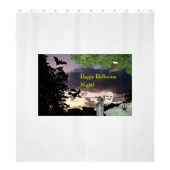 Happy Halloween Night Witch Flying Shower Curtain 66  X 72  (large)  by canvasngiftshop