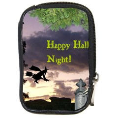Happy Halloween Night Witch Flying Compact Camera Cases by canvasngiftshop